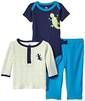 b93cfb26f7ee Yoga Sprout Baby-Boys Lizard Collection Long Sleeve Tee Top Pant and  Bodysuit Set