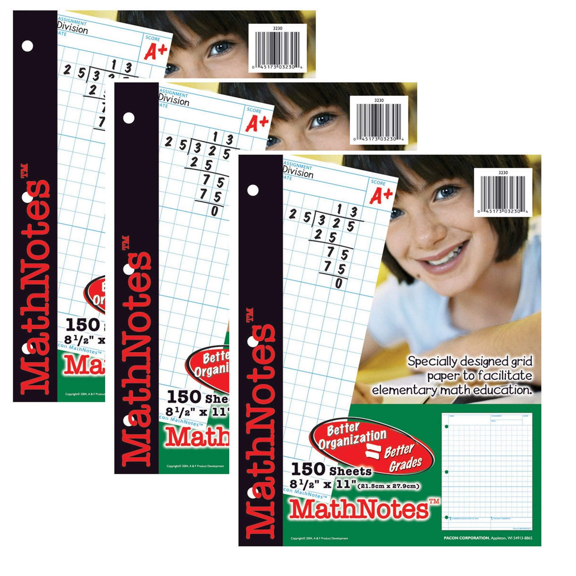 MathNOtes 3230 3-Hole Punched Grid Paper, 8-1/2'' x 11'' Size, 1/2'' Grid Ruling (Pack of 150), 3 PACK by MathNOtes