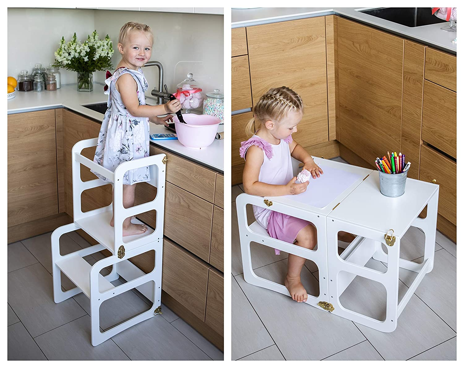 Little Bubble Learning Tower for Children Wooden Stool Kitchen Aid Learning Chair Childrens Furniture Kitchen Helper Natural Transparent Made in EU