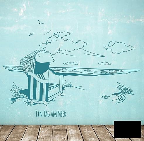 Strandkorb zeichnen  Wandtattoo Wandaufkleber Strandkorb am Meer maritim