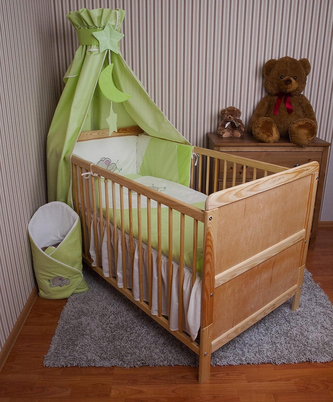 Amilian® Baby Bettwäsche Himmel Nestchen Bettset MIT STICKEREI 100x135cm Neu für Babybett Elefant grün Vollstoffhimmel zieba