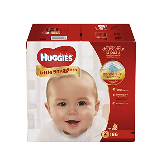 HUGGIES Little Snugglers Baby Diapers, Size 2, for 12-18 lbs., One Month Supply (186 Count), Packaging May Vary