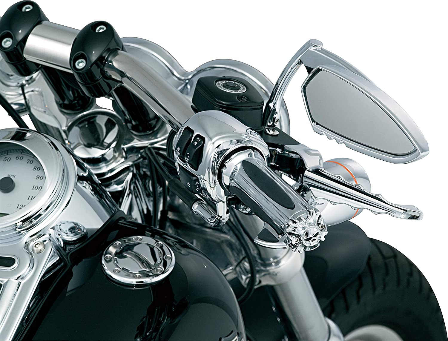 2008-19 Harley-Davidson Motorcycles Chrome 1 Pair Kuryakyn 6298 Premium Handlebar Grips with Zombie End Caps for Electronic Throttle Control