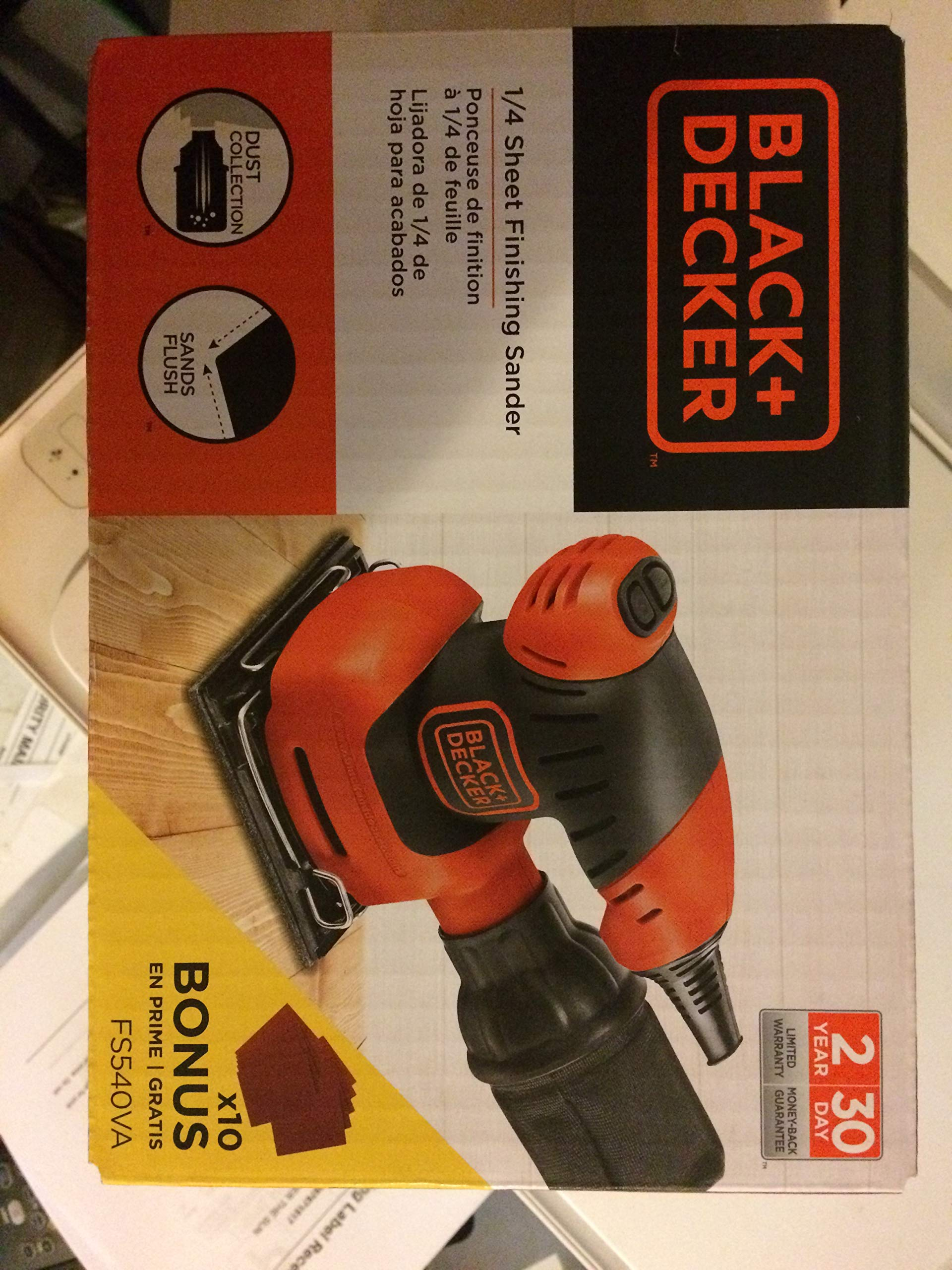 BLACK & DECKER 1/4-Sheet Orbital Sander Soft Grip Paddle Switch