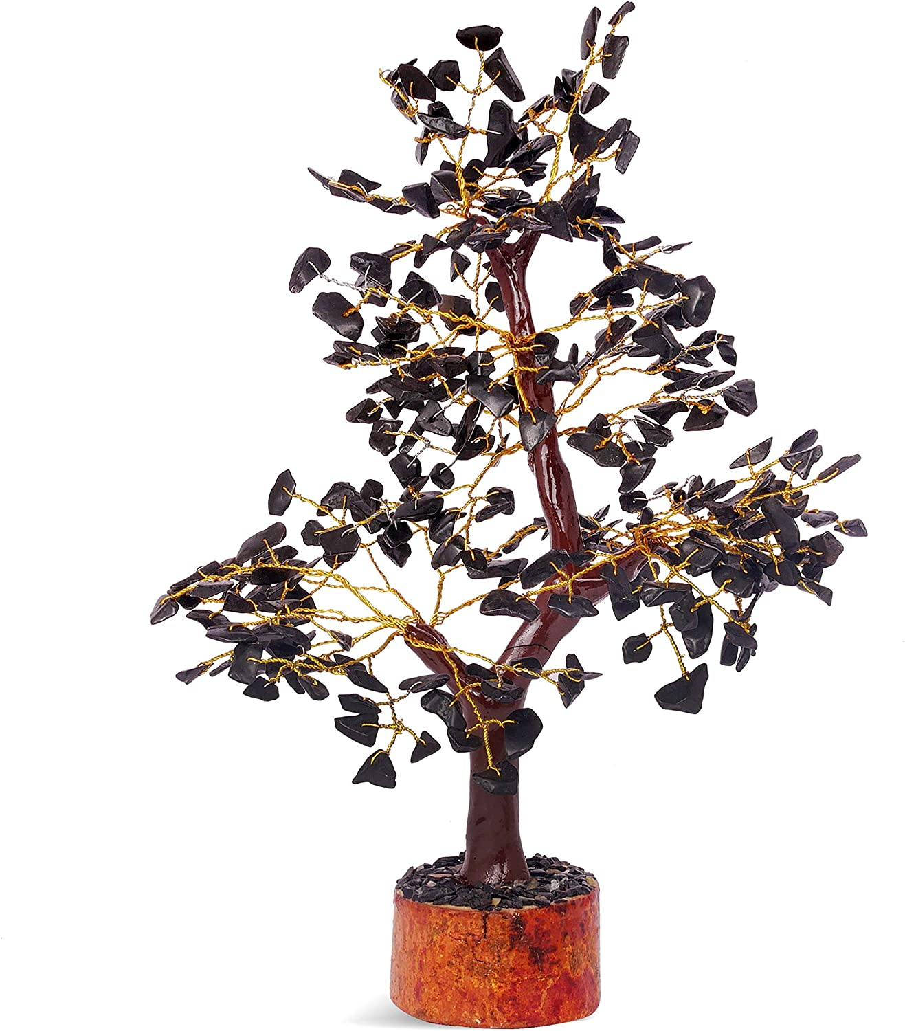 FASHIONZAADI Black Tourmaline Crystal Tree Natural Bonsai Gemstone Money Trees Good Luck Home Office Table Décor Crystals Cleansing 10-12 inch (Golden Wire)