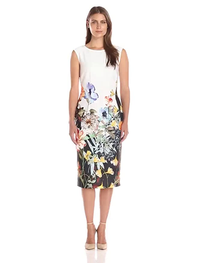 b848dd83 Amazon.com: S.L. Fashions Women's Cap-Sleeve Sheath Dress with Princess  Seaming and Floral Placement Print, Multi, 6: Clothing