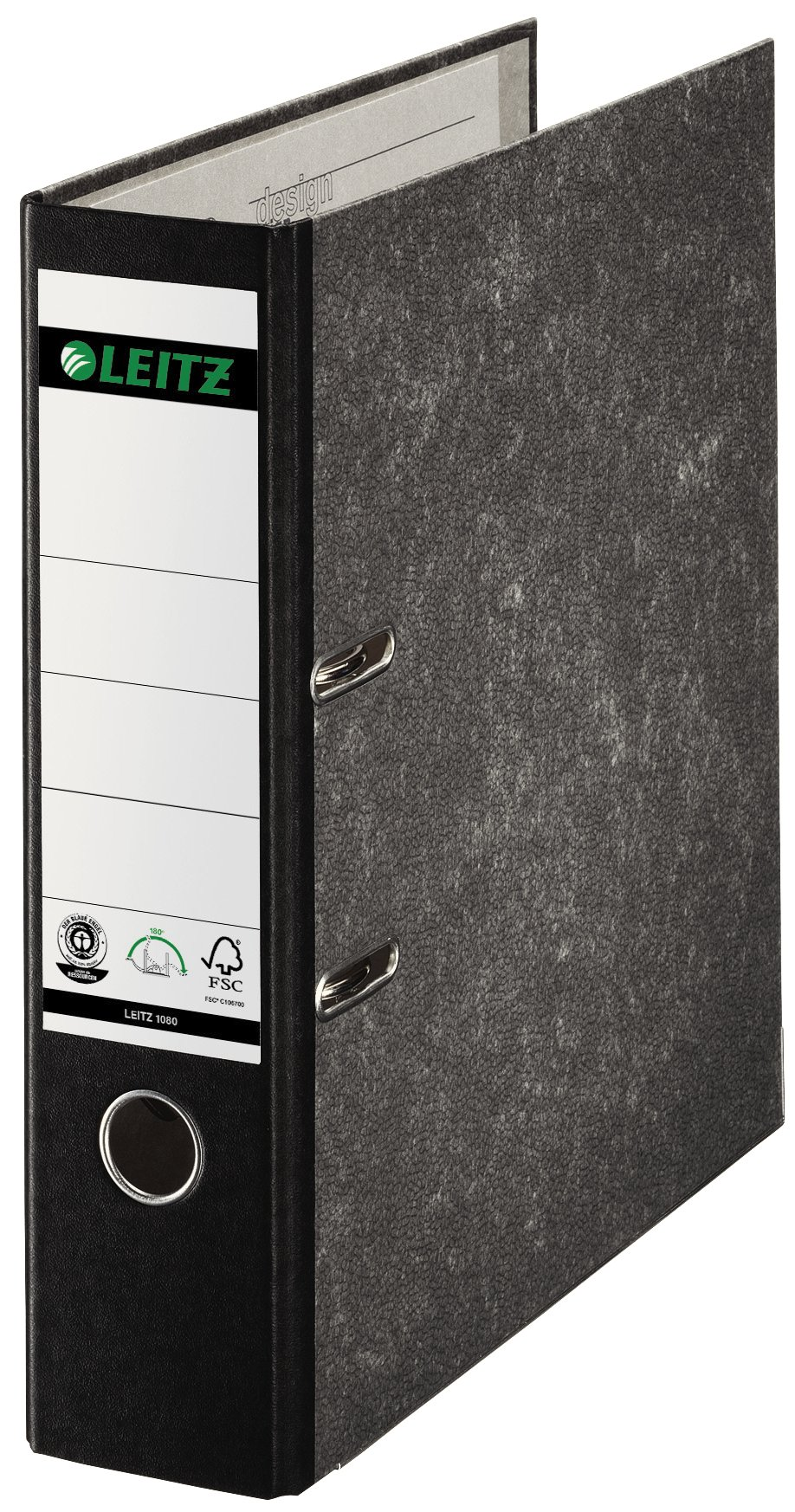 Leitz 80mm A4 180° Board Lever Arch File Spine - Black