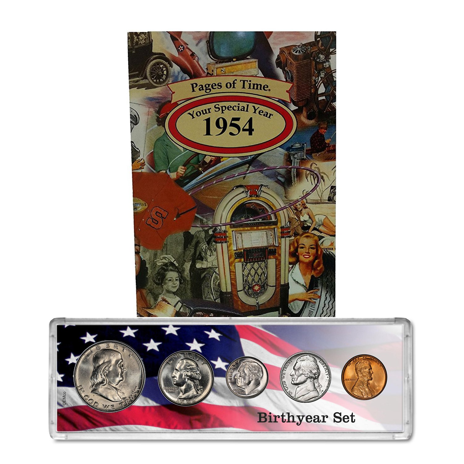 1954 Year Coin Set and Greeting Card : 65th Birthday - Birthyear Set by Coins4Me