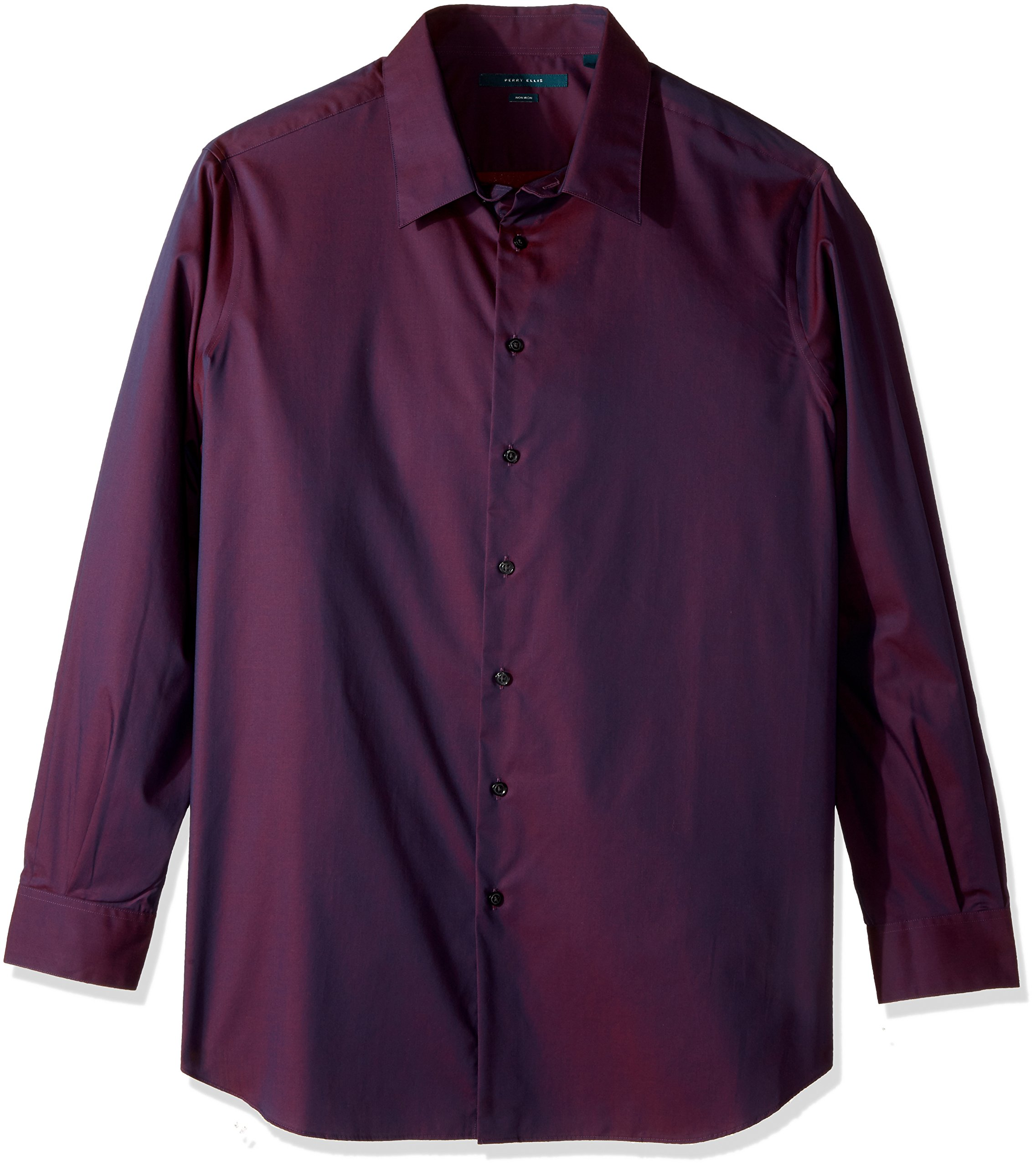 Perry Ellis Men's Big Travel Luxe Solid Non-Iron Twill Shirt, Midnight Plum-4CFW4600, 2XL Tall
