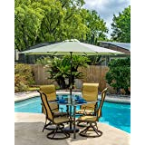 Pebble Lane Living 9' Honey Dew Green Aluminum Patio Market Umbrella Tilting with Crank Open and Vented Top