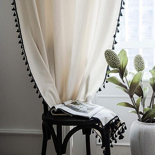 Lahome Boho Cotton Linen Tassel Window Curtains,Set of 2 Farmhouse Cream Curtain Panels