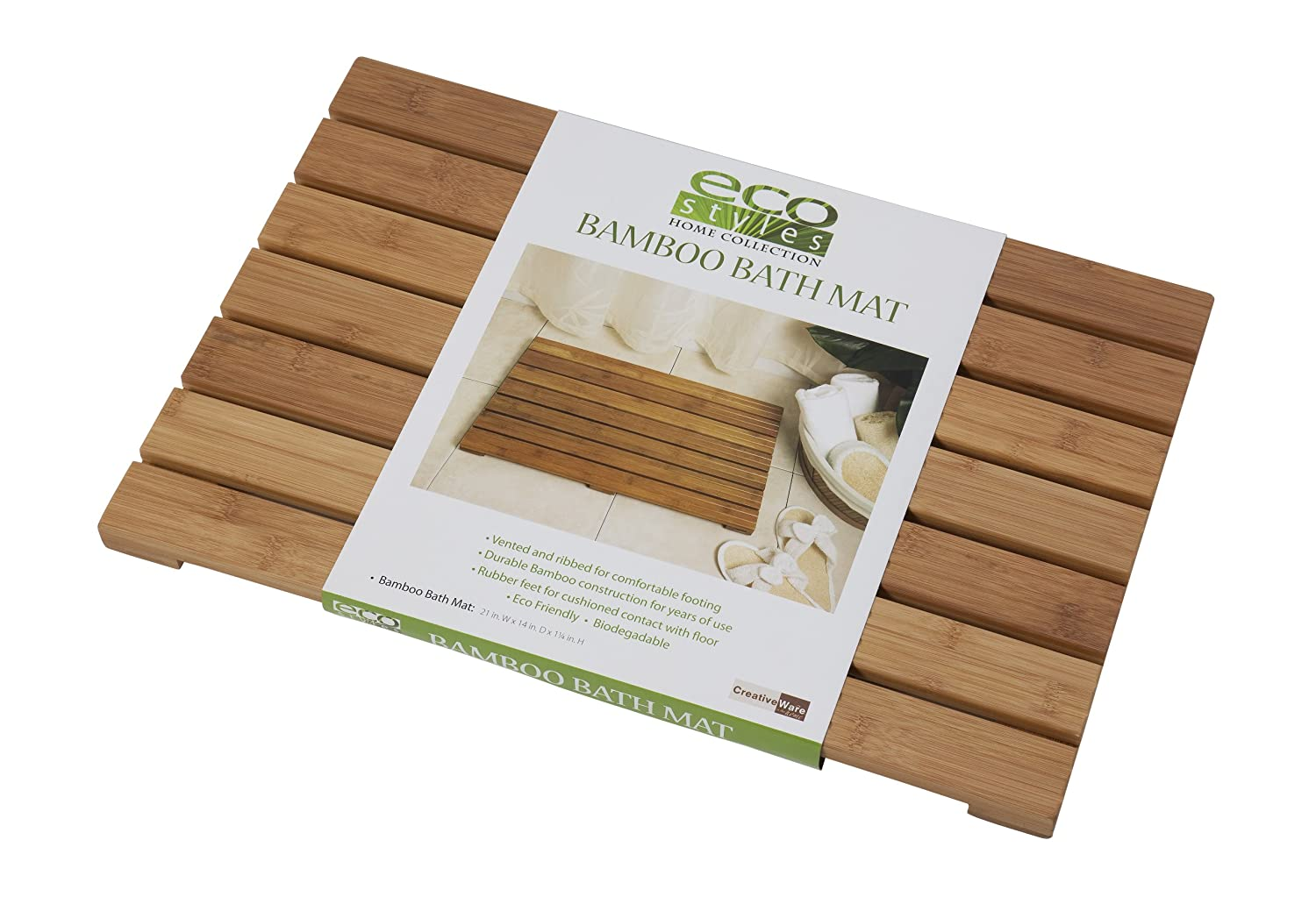 Design Teak Bath Mat amazon com creative bath eco styles mat bamboo home kitchen