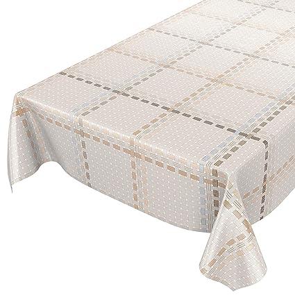 ANRO Mantel Hule Cera Mantel Encerado Mantel Textil Rayas Limpiar. Trenzado, Toalla, Beige