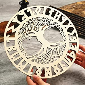 Simurg 11.5'' Celtic Tree of Life Wall Art Nordic Viking Runes Amulet Wall Decor Celtic Family Trees Home Decor