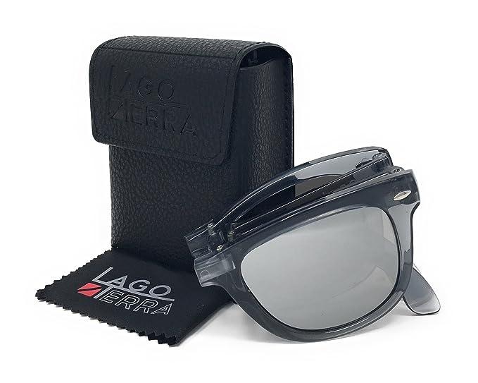 LAGO TERRA - Occhiali da sole - Uomo nero Grey Smoke : Silver Mirror uBYi5MA