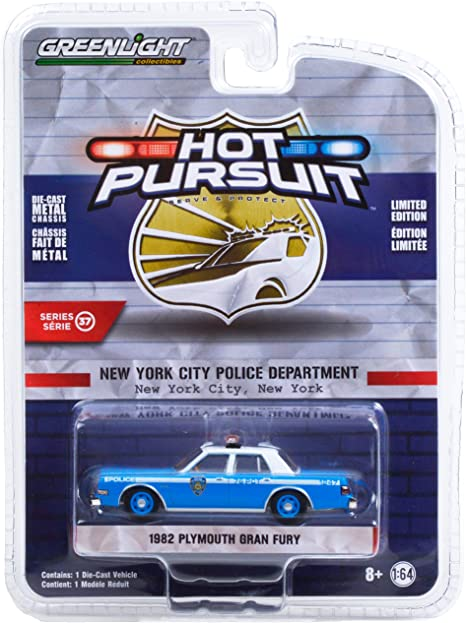 1982 Plymouth Gran Fury Light Blue w/White Top NYPD (New York City Police Dept) Hot Pursuit Series 37 1/64 Diecast Model Car by Greenlight 42950 B