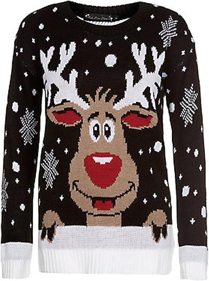 Da Donna Uomo Donna Unisex Doppio Rudolph Natale Maglione Lavorato a Maglia Novità Natale