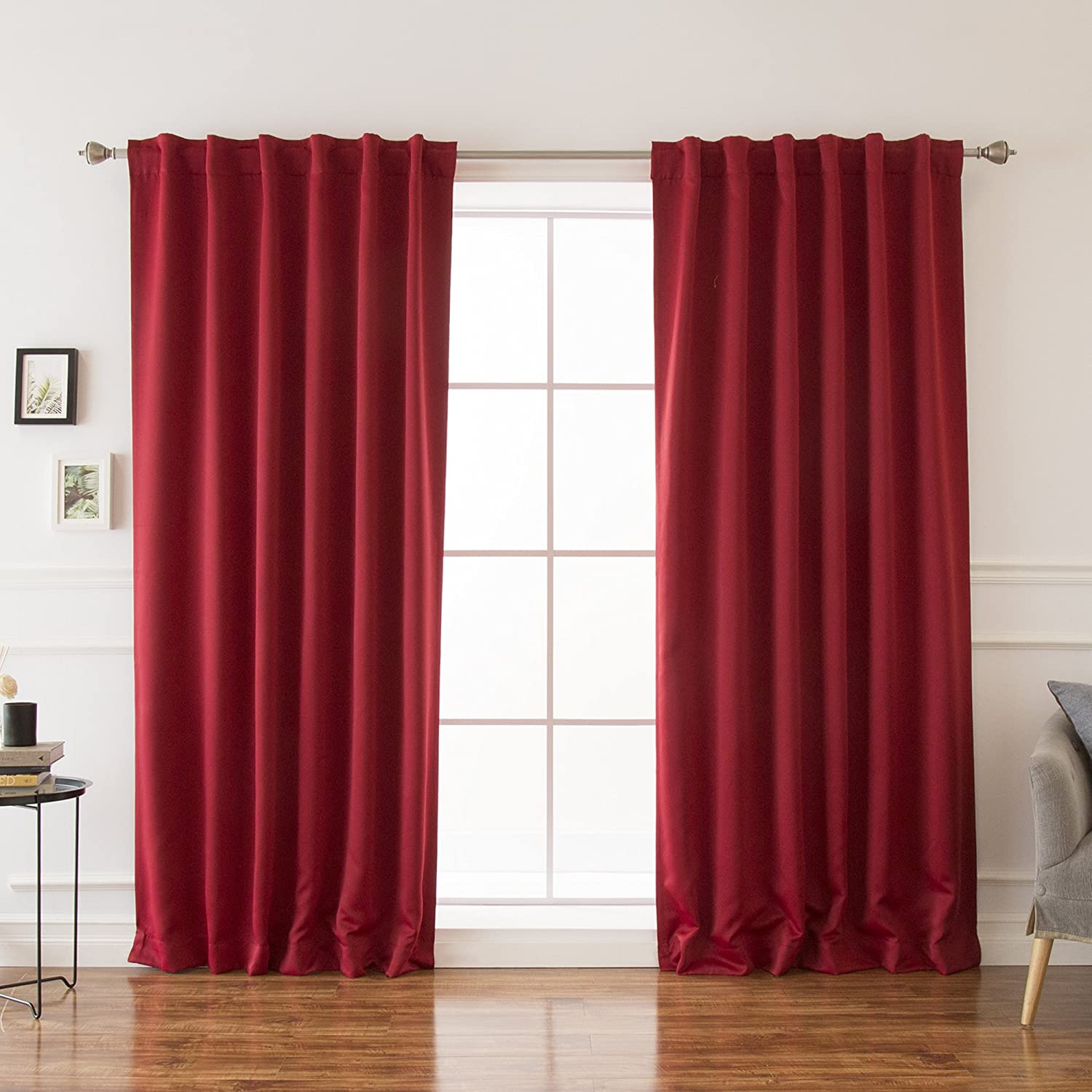 "Best Home Fashion Premium Thermal Insulated Blackout Curtains - Back Tab/Rod Pocket - Cardinal Red - 52"" W x 108"" L -Tie Backs Included (Set of 2 Panels)"
