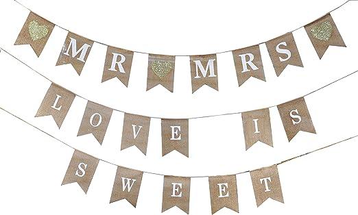 Fabric Decor Love Decoration Party Burlap Bunting Mr /& Mrs Wedding Banner