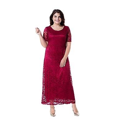 ESPRLIA Women's Full Lace Plus Size Wedding Evening Party Maxi Dress