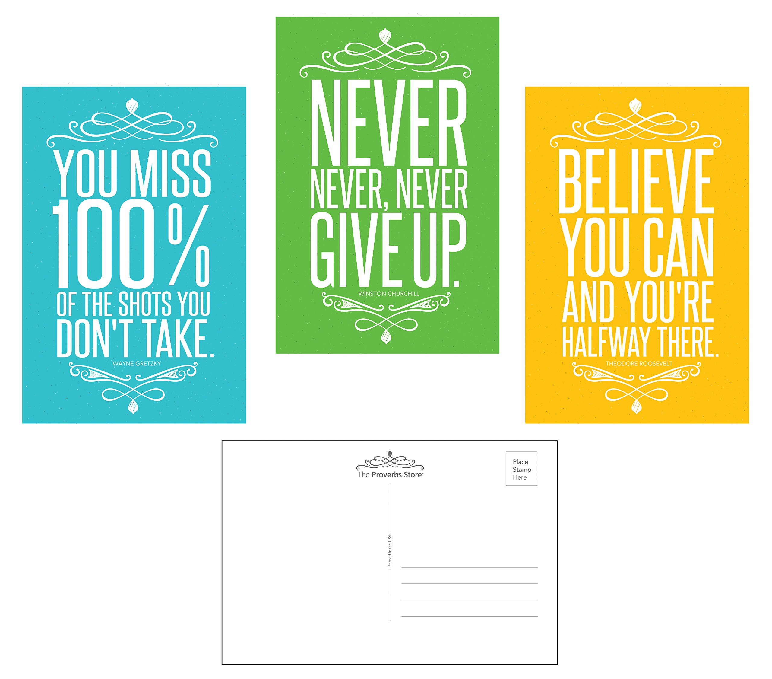 Famous Quotes Motivational Inspirational Entrepreneur Business (30 Pack) Blank POSTCARDS Postage Saver (4 x 6 inches). Teacher Gifts to Students Coworkers Kids Teenagers Teamwork 3 Designs, 10 of each