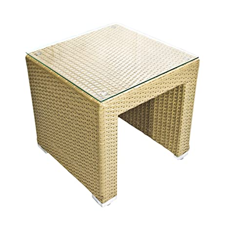 Outdoor All Weather Garden Square Wicker Side Table   Honey Almond    Tempered Glass Top Included
