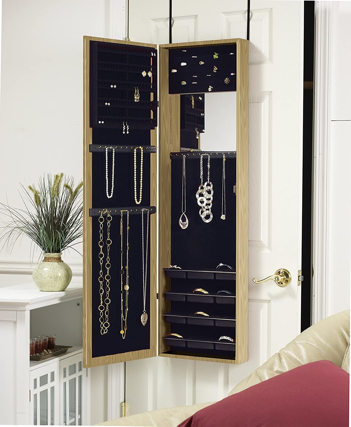 Amazon.com: Plaza Astoria Over The Door/Wall Mount Jewelry Armoire With Full  Length Dressing Mirror And Vanity Mirror For Earrings, Necklaces And Rings,  ...