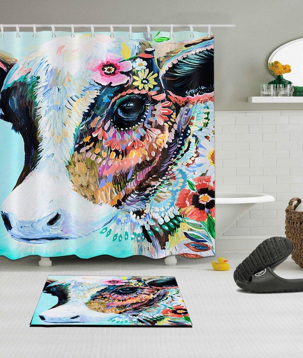 LB Colorful Animal Cow Shower Curtain Set Polyester Fabric 3D Digital Printing 72x72 Mildew Resistant Waterproof Colorful India Temple Cow Bathroom Bath Curtain Liner Bath Mat