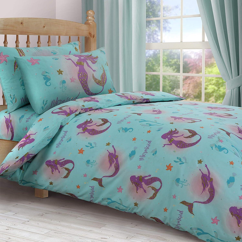 Angels Hub Girls Mermaid Sea cot//toddler bed duvet cover bedding set