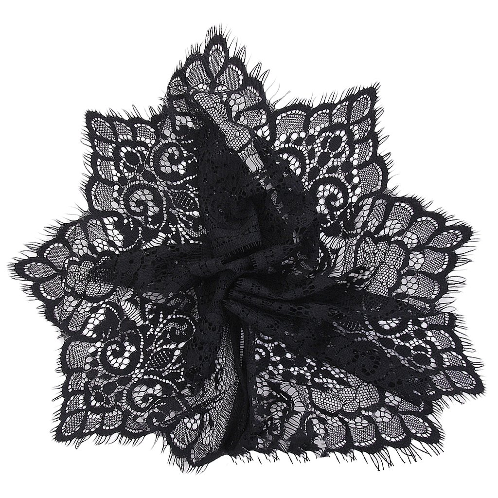 Wide Lace Trimming DIY Sewing Applique 3 Yard 19cm (Black)