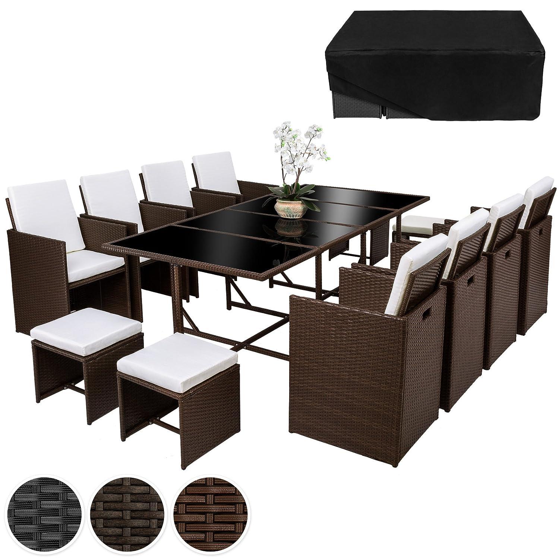 TecTake Poly Rattan 8+4+1 Sitzgruppe 8 Stühle 4 Hocker 1 Tisch + Schutzhülle & Edelstahlschrauben - diverse Farben - (Braun mixed | Nr. 402101)