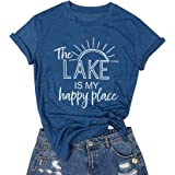 The Lake is My Happy Place T Shirt Women Lake Life Shirt Summer Vacation Short Sleeve Casual Tee Top