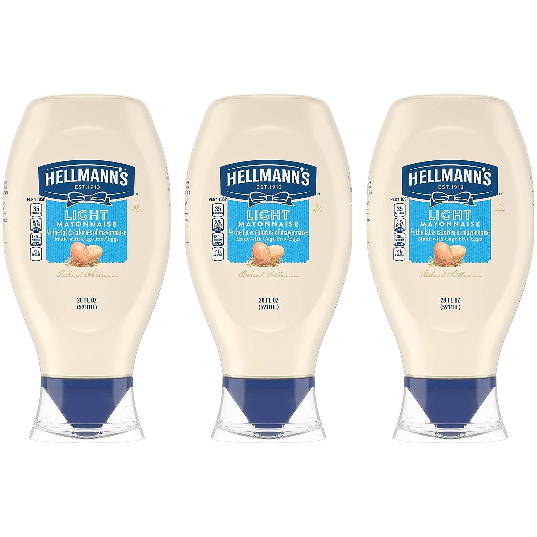 Hellmann's Light Mayonnaise, Squeeze, 20 Fl oz, 3 Pack