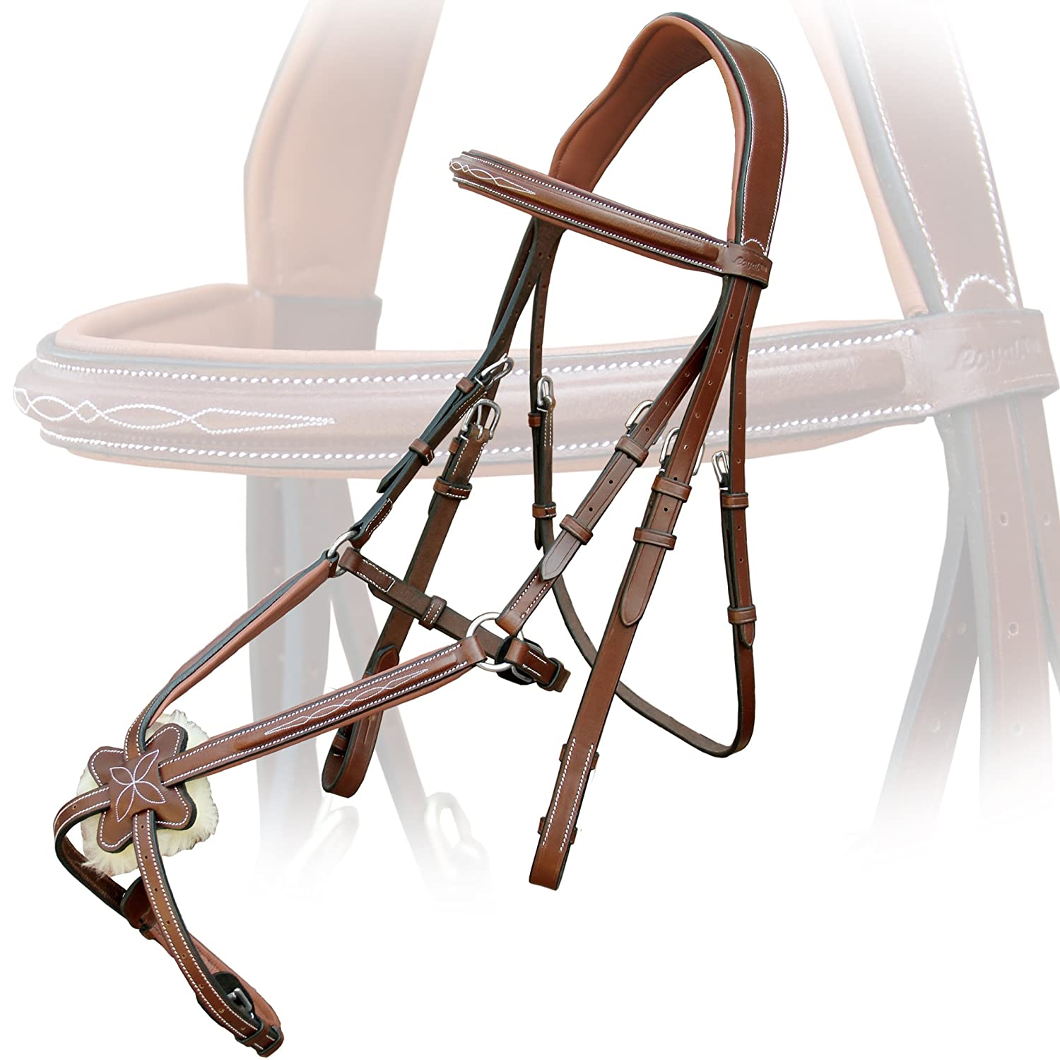 Conker (Tan Brown) Warm Blood (Over)Exion Fancy Square Raised Mexican Adjustable Leather Bridle with PP Rubber Grip Reins and Stainless Steel Buckles   Equestrian Show Jumping Padded Bridle Set   English Horse Riding Tack   Havana   Cob