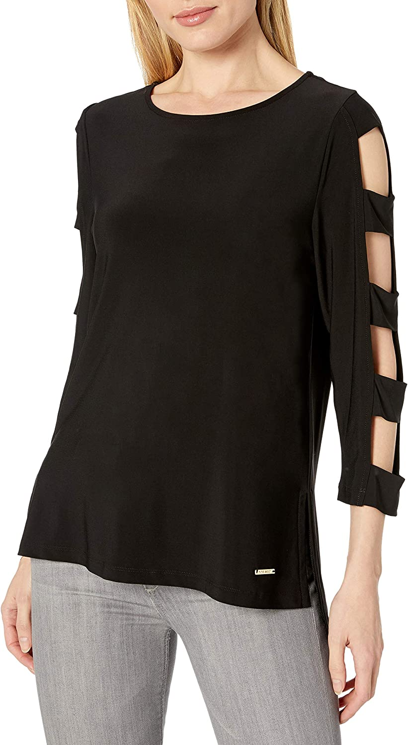 NINE WEST Womens Knit Top with Cutout Sleeves