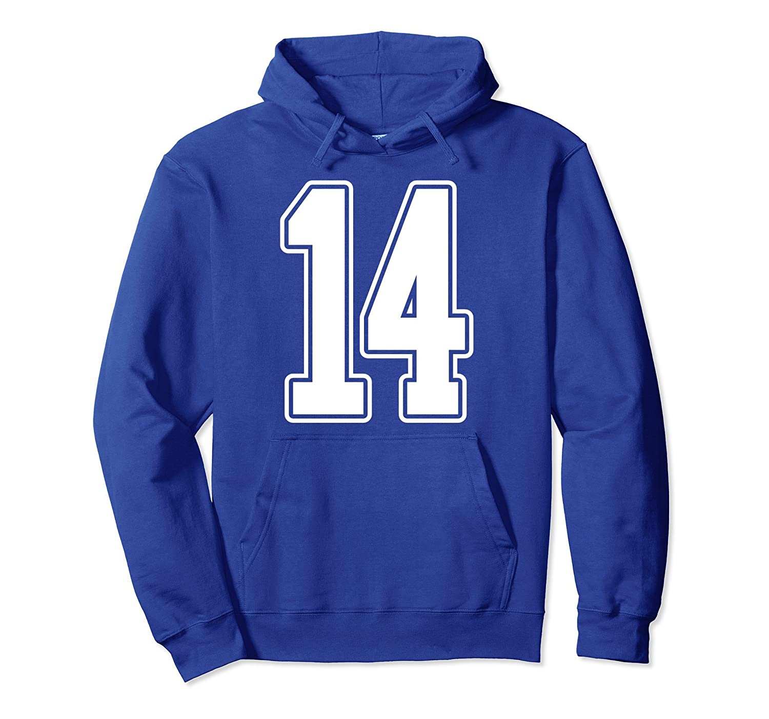 #14 White Outline Number 14 Sports Fan Jersey Hoodie-ANZ