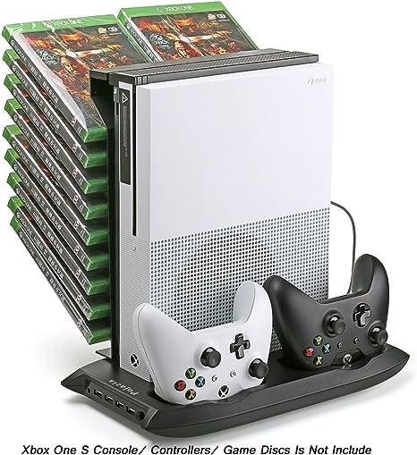Pojazia Xbox One S Soporte vertical de ventilador de refrigeración del controlador de la estación de carga con el almacenamiento de juegos y Dualshock cargador: Amazon.es: Videojuegos