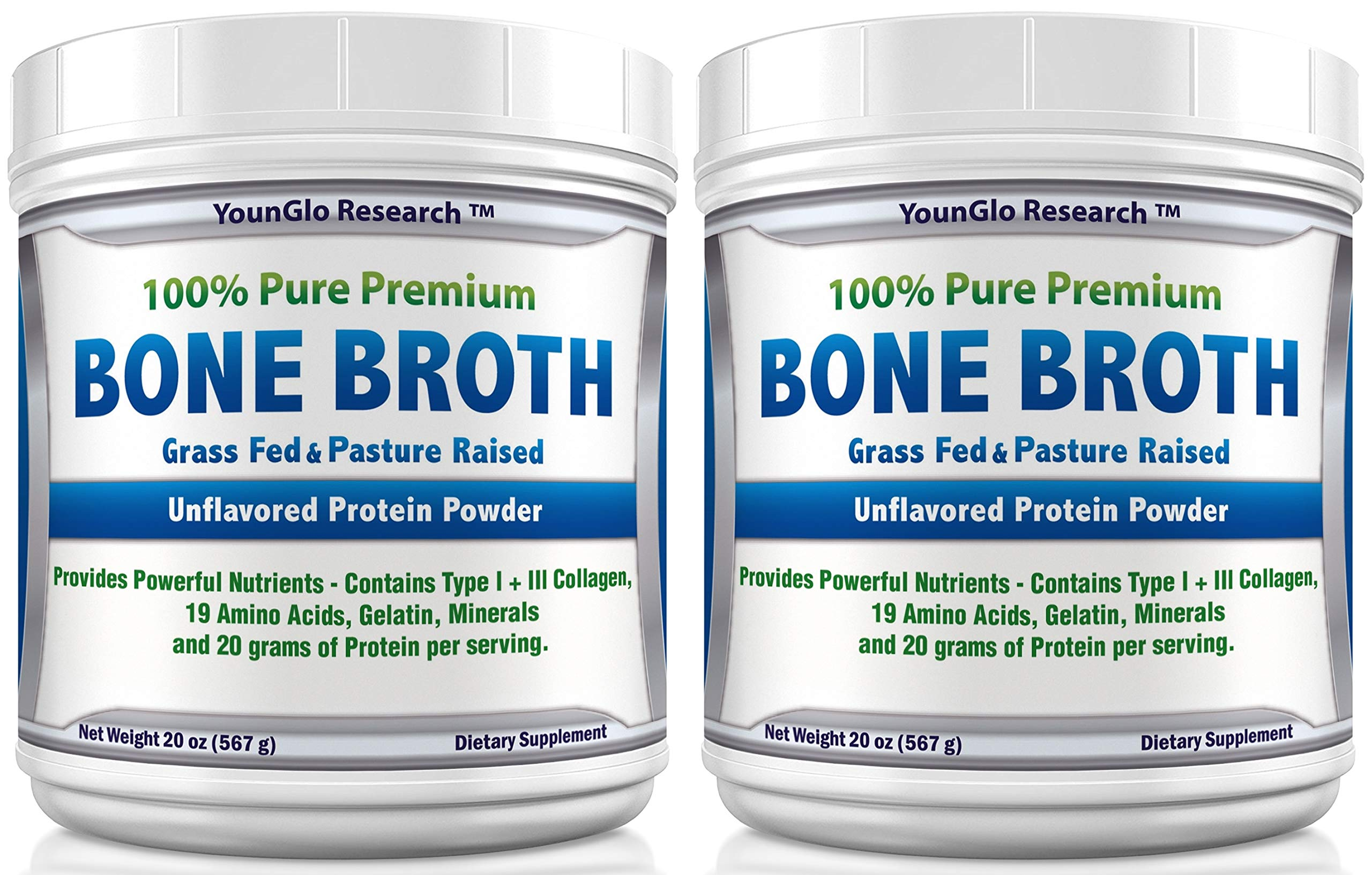 Bone Broth Protein Powder from Grass Fed Beef - 20oz - High in Collagen and Gelatin - Paleo and Keto Friendly - Unflavored (2 Pack) by YounGlo Research