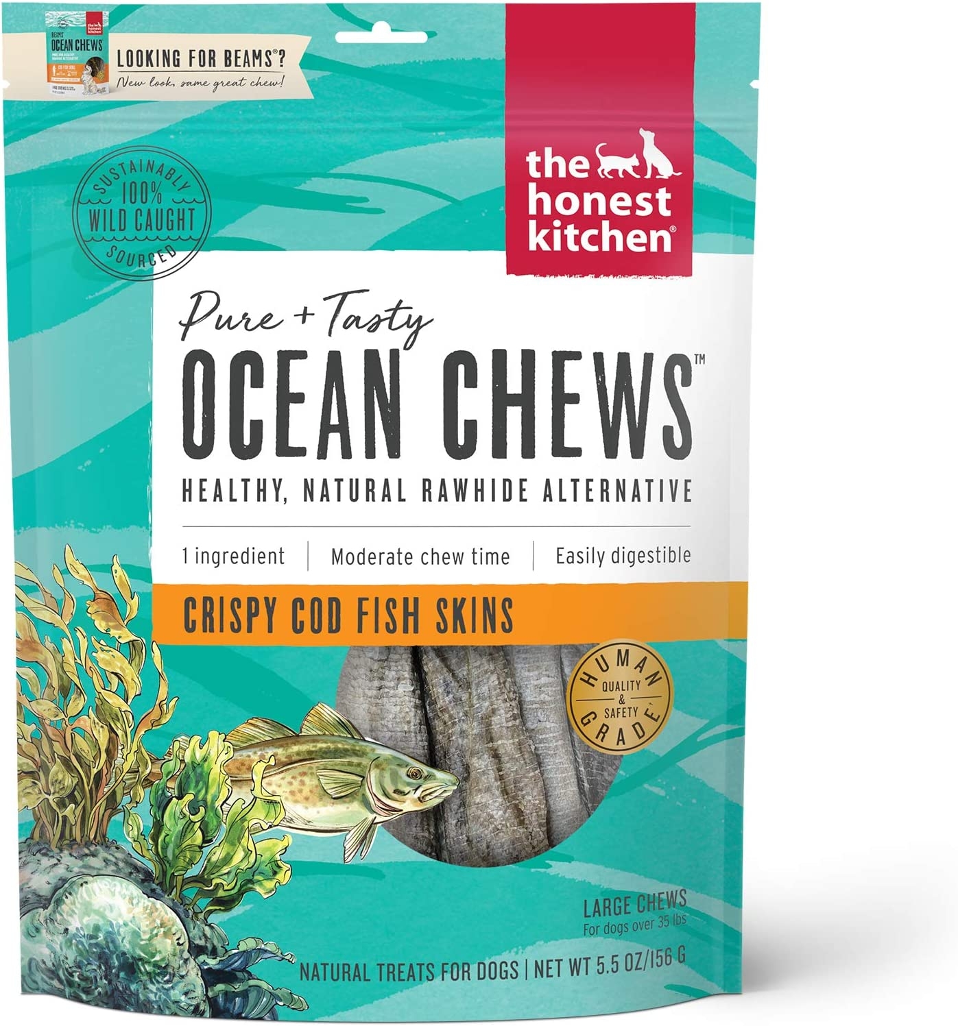 The Honest Kitchen Ocean Chews Grain Free Dog Chew Treats – Natural Human Grade Dehydrated Fish Skins