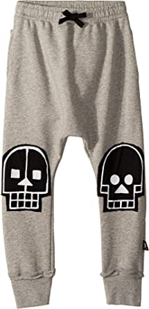 b1cb37f6c NUNUNU Boy's Skull Robot Patch Baggy Pants (Little Kids/Big Kids) Heather  Grey