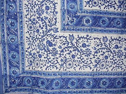 Rajasthan Block Print Cotton Tablecloth 90u0026quot; ...