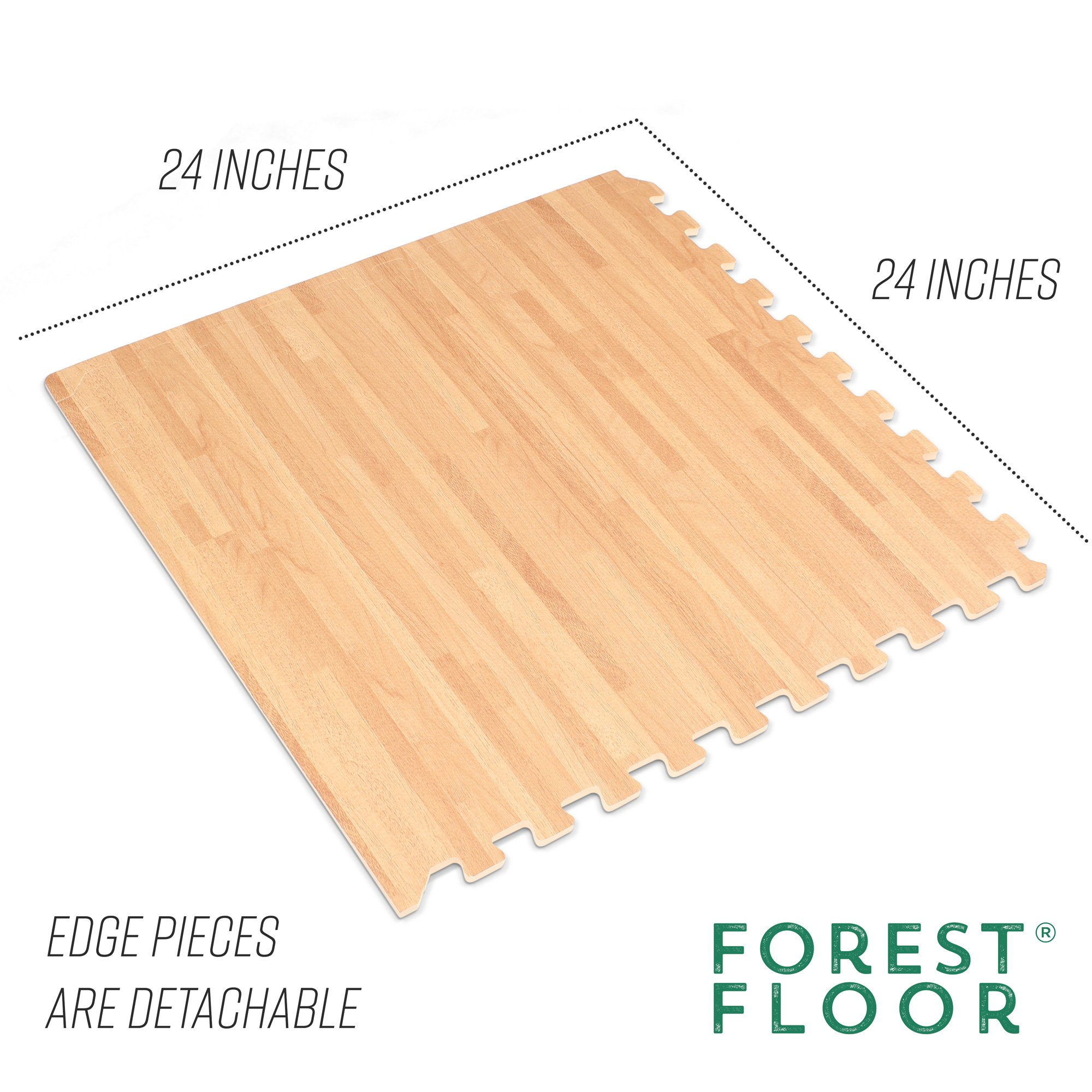 Forest Floor 3/8'' Thick Printed Wood Grain Interlocking Foam Floor Mats, 16 Sq Ft (4 Tiles), White Oak by Forest Floor (Image #4)