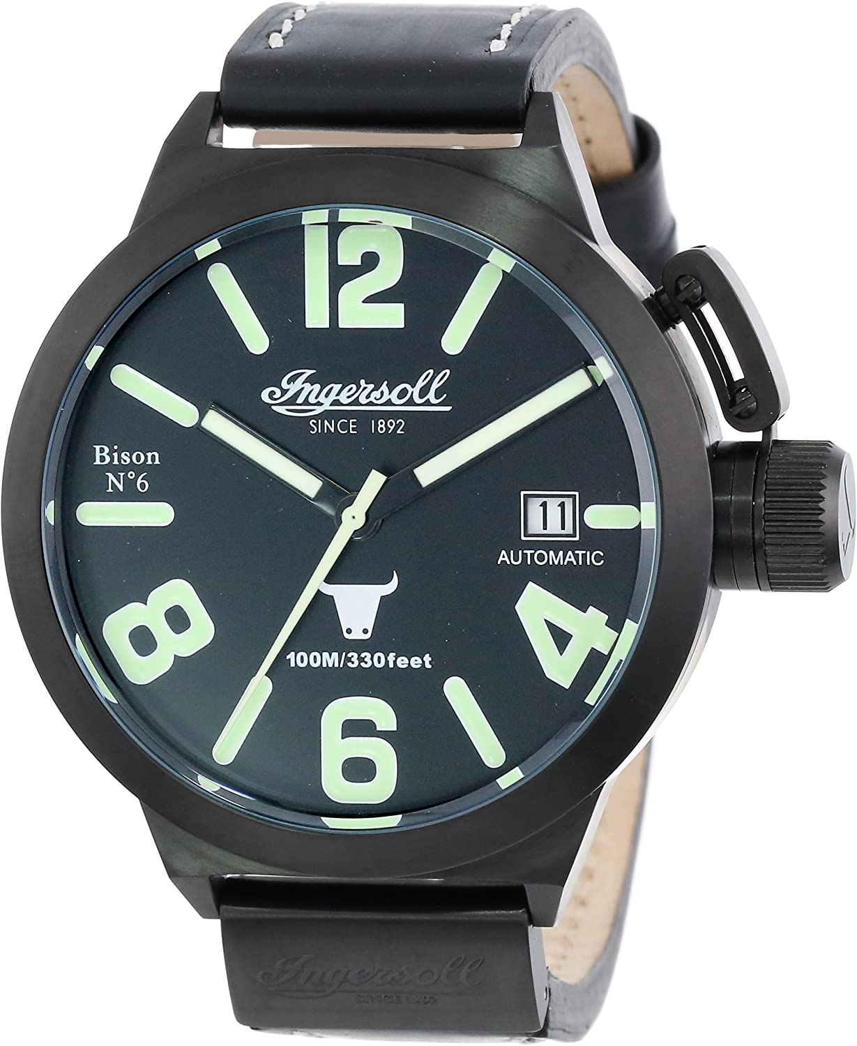 Ingersoll Men s IN8900BBK Bison Automatic Black Leather Strap Watch