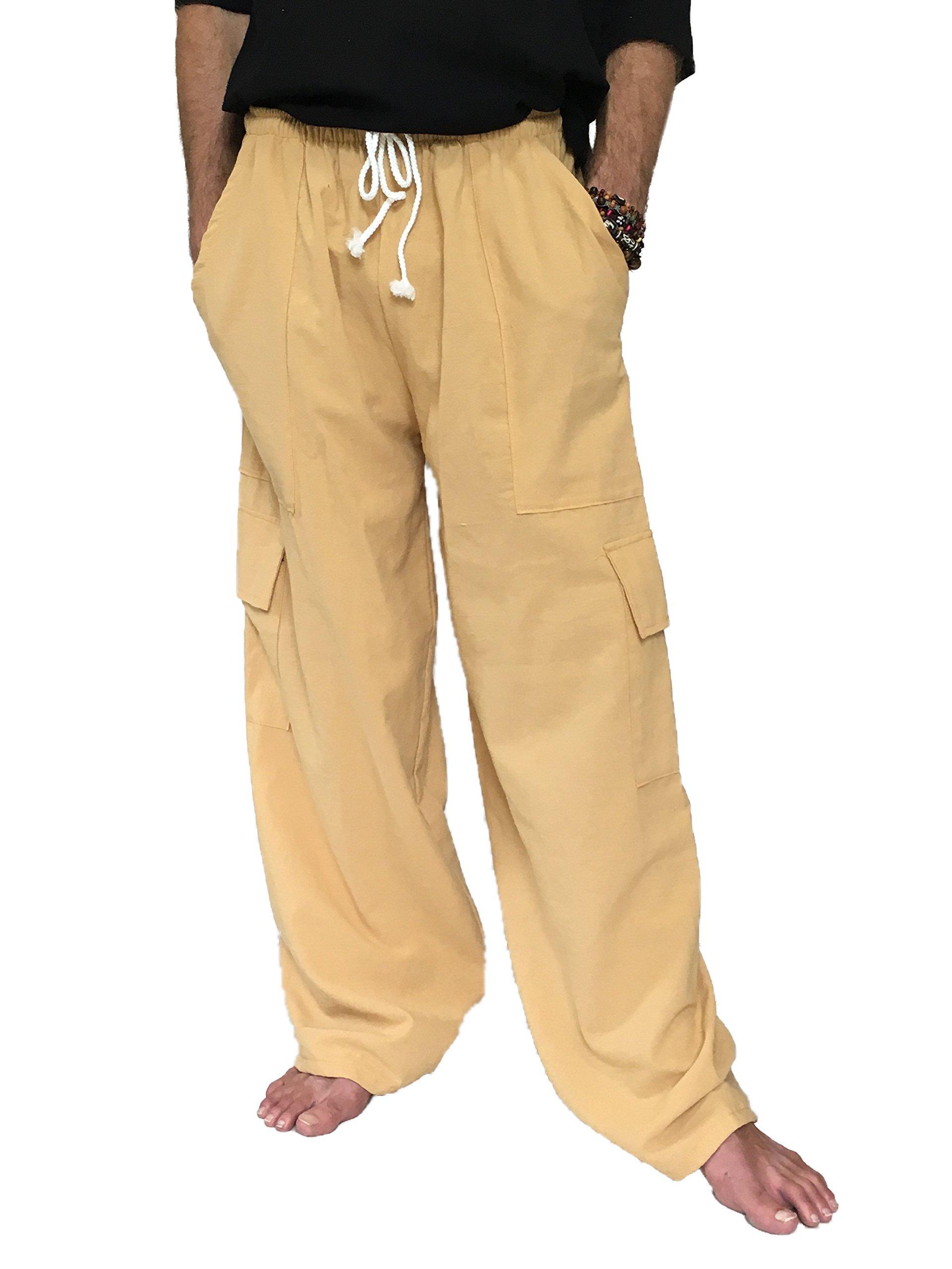 Love Quality Men's 100% Cotton Cargo Pants One Size Baggy Pants Drawstring Elastic Waist (Yellow)
