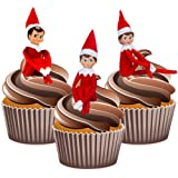 Elf on the Shelf 12 Christmas Cup Cake Toppers - Edible Stand Up Decorations