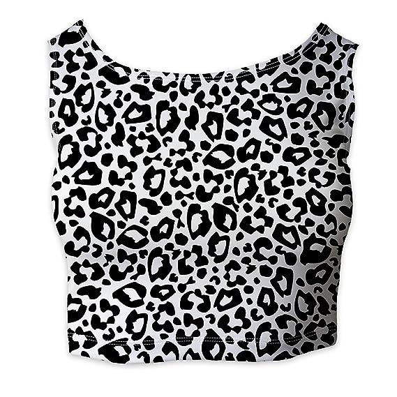 Sleeveless XS Bright Leopard Print  Sleeveless Crop Top 5XL