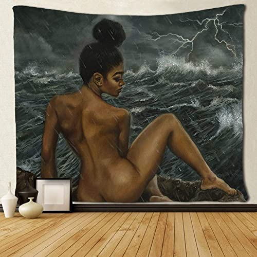 SARA NELL Tapestry African American Sexy Women at The Seaside in The Rain Tapestries Hippie Art Black Art Wall Hanging Throw Tablecloth 60X90 Inches for Bedroom Living Room Dorm Room