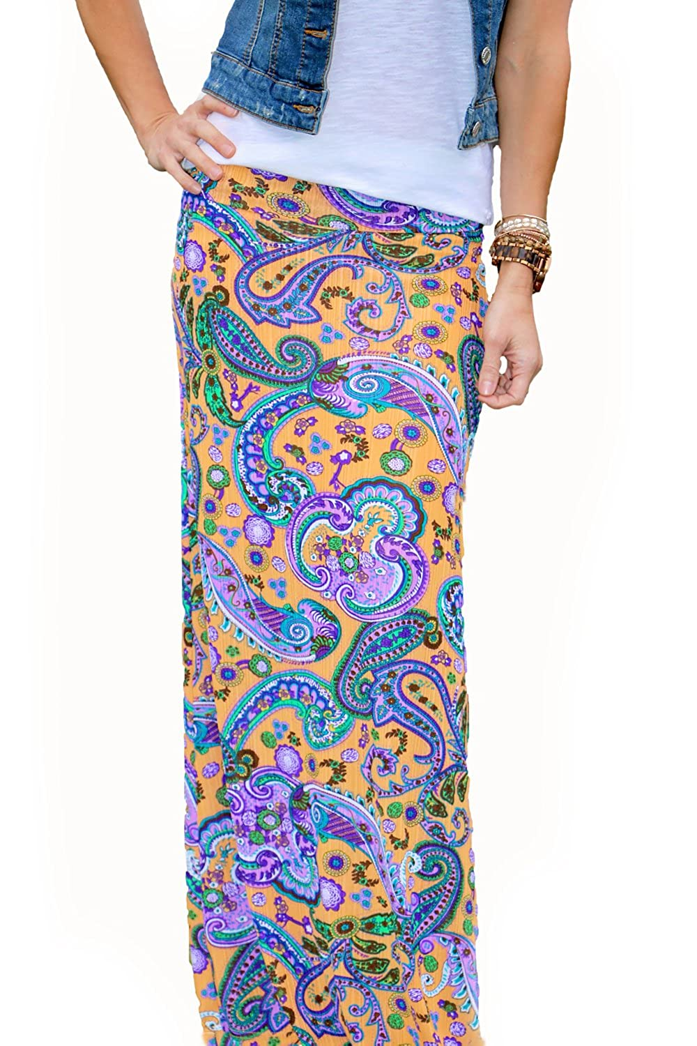 Mommy /& Me Yellow Paisley Maxi Skirt