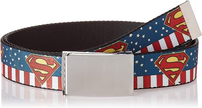 Buckle Down Herren Web Belt Superman 1 5 Gürtel Mehrfarbig 4 Cm Breit 42 Cm Hosen Größe Bekleidung