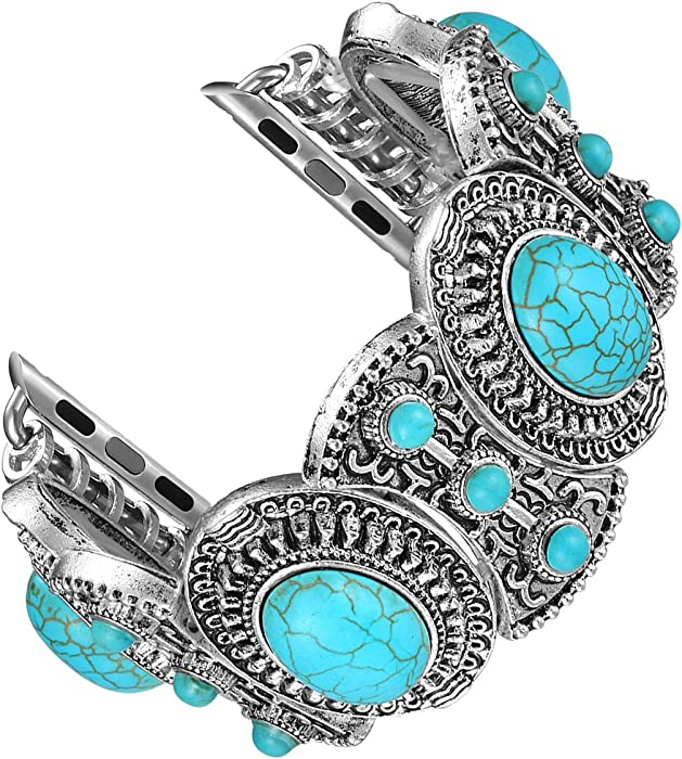 Fastgo Compatible with Apple Watch Band 42mm 44mm, Bohemian Ethnic Antique Style Bracelet Strap for Iwatch SE & Series 6/5/4/3/2/1(42mm 44mm)